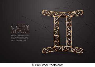 Gemini Zodiac sign wireframe Polygon golden frame structure, Fortune teller concept design illustration isolated on black gradient background with copy space, vector eps 10