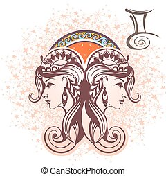 Gemini. Zodiac sign - Zodiac symbol for your design