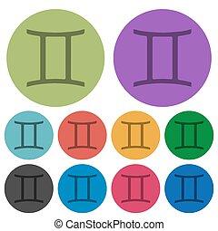 Gemini zodiac symbol color darker flat icons
