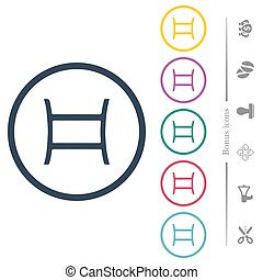 Gemini zodiac symbol flat color icons in round outlines