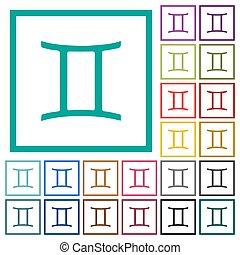 Gemini zodiac symbol flat color icons with quadrant frames...