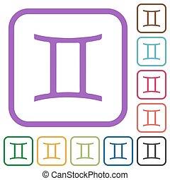 Gemini zodiac symbol simple icons