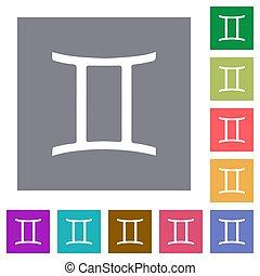 Gemini zodiac symbol square flat icons
