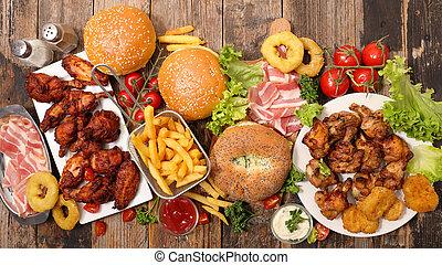 gemischt, amerikanisches essen