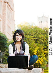 gemischten rennen, student, mit, laptop