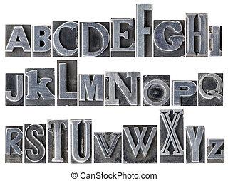 gemischter, alphabet, art, metall