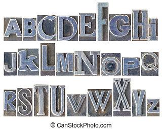 gemischter, alphabet, satz, metall, art