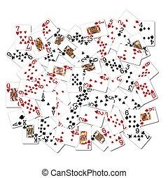 gemischter, karten, spielende
