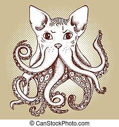 gemischter, oktopus, katz
