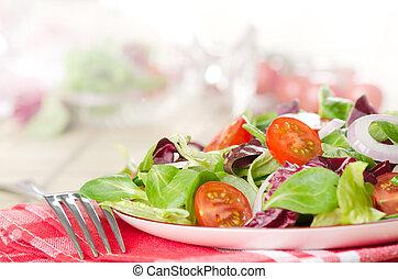 gemischter, schüssel, salat