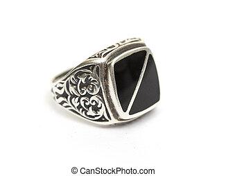 gemme, anello, bianco, isolato, fondo