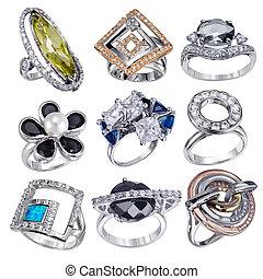 gemme, bianco, anelli, isolato, fondo