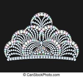 gemme, brillante, nero, diadema, femminile