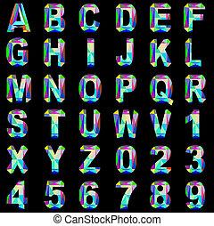 gemme, coloré, alphabet, police, verre