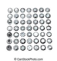 gemme, gioielleria, forma, collezioni, gemstone., rotondo