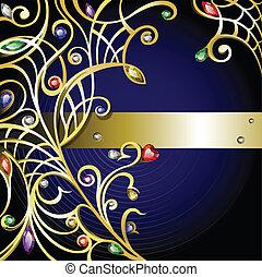gemme, gioielleria oro, fondo