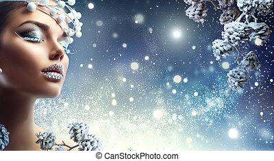 gemme, inverno, bellezza, trucco, girl., labbra, vacanza, natale