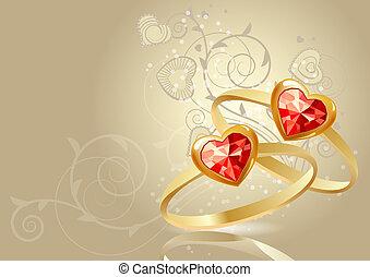 gemme, oro, anelli, due, sfondo beige