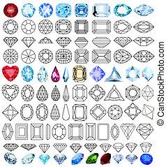 gemme précieuse, formes, ensemble, pierres, coupure