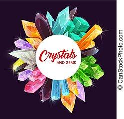 gemme, quarzo, cristalli, ametista, cornice, diamante