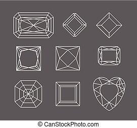 gemme, set, gioielleria, linea., contour., diamond., contorno, geometria, vettore, disegno, forme, cristallo, diamante, disegno, forms., prezioso, stones., geometrico, elementi, figure.