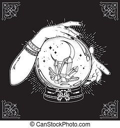 gemme, sfera cristallo, falce di luna