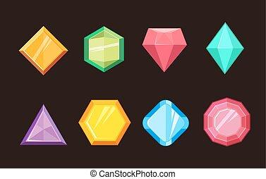 gemmes, diamant, ensemble, brillant, bijoux, vecteur, dessin animé