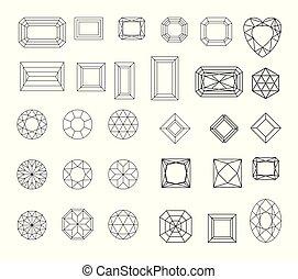 gemmes, ensemble, bijouterie, ligne., contour., diamond., contour, géométrie, vecteur, dessin, formes, cristal, diamant, conception, forms., précieux, stones., géométrique, éléments, figures.
