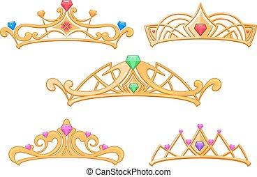 gemmes, ensemble, couronnes, princesse, vecteur, dessin animé, diadèmes