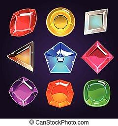 gemmes, ensemble, icônes, vecteur, diamants, dessin animé