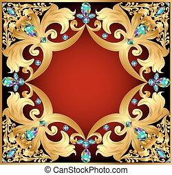 gemmes, fond, or, ornements, rouges