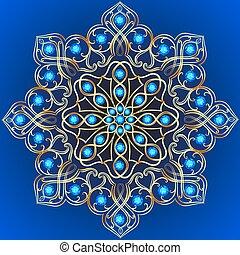 gemmes, illustration, fond, or, ornements