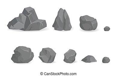 gemmes, pierre, grand, gris, collection, rochers, petit