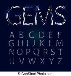 gemmes, tout, capital, alphabet., letters.