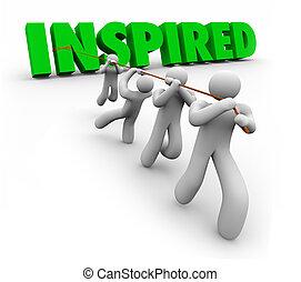 gemotiveerde, succes, werkende , geïnspireerde, samen, team, volgend, leider, bereiken