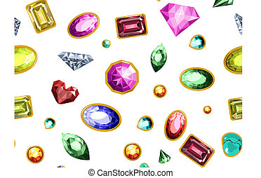 Gems and diamonds, precious stones seamless pattern vector.