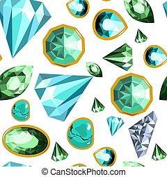 Gems and diamonds, precious stones seamless pattern vector