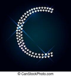Gems C letter. Shiny diamond font.