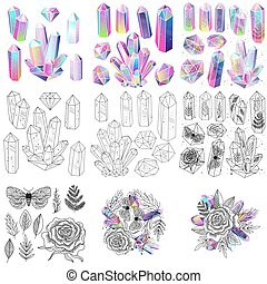 Gems, crystals set vector