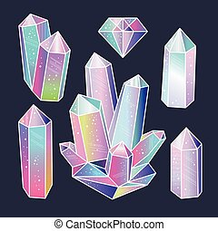 Gems, crystals sticker set vector