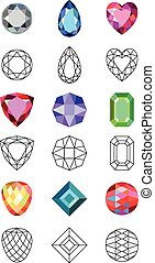 Gems cuts set - Flat style low poly colored & black outline...