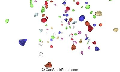 Gems diamonds gemstones ruby stones falling slow motion...