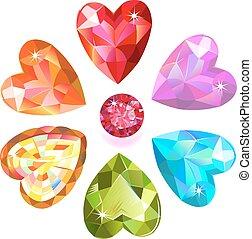 Gems heart flower