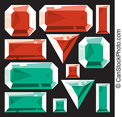 Gems of ruby and emerald. Vector illustration.