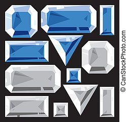 Gems of sapphire and diamond. Vector illustration.