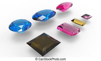 Gems over a white background