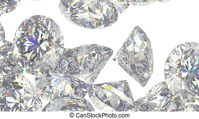 Gems scatter and fly away over white with Alpha