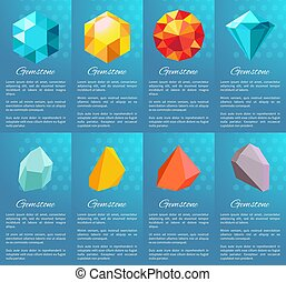 Gemstone Collection of Posters Vector Illustration