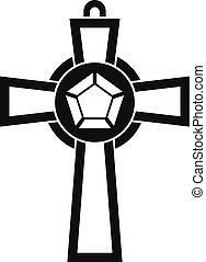Gemstone cross icon, simple style