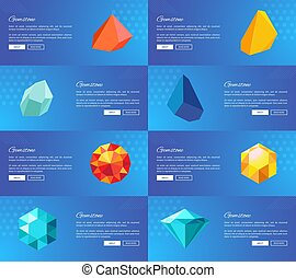 Gemstone Geological Precious Stones Vector Set